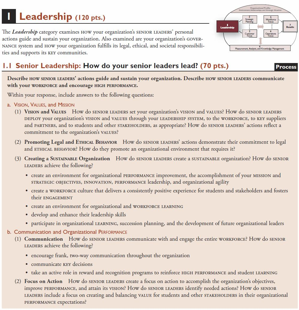 Performance excellence criteria for educational leaders
